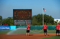Florida Fire Frogs grounds crew prepares the field before a game against the Daytona Tortugas on April 6, 2017 at Osceola County Stadium in Kissimmee, Florida.  Daytona defeated Florida 3-1.  (Mike Janes/Four Seam Images)