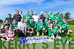 Castleisland FC celebrate after defeating Listowel Celtic in the Greyhound Bar KO Cup at Mounthawk Park on Sunday.
