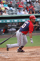 Wilson Ramos (40) of the Washington Nationals at bat during a Grapefruit League Spring Training game at the Roger Dean Complex on March 24, 2014 in Jupiter, Florida. Washington defeated Miami 4-1. (Stacy Jo Grant/Four Seam Images)