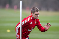 Sam Vokes during Wales national team training ahead of the International Friendly match and Euro 2016 warm up match against Northern Ireland at Vale Resort, Hensol, Wales on 22 March 2016. Photo by Mark  Hawkins / PRiME Media Images.