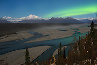 Aurora Borealis over Denali and the Chulitna River.