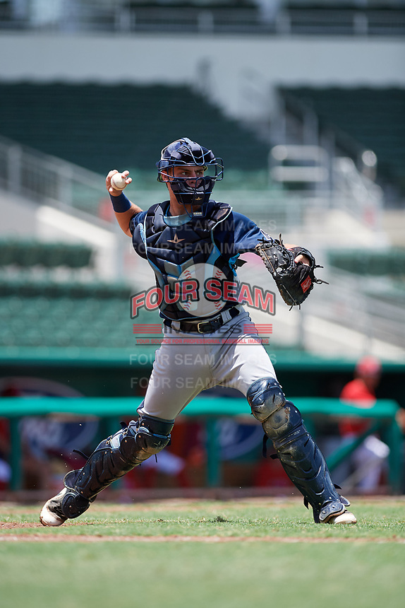 GCL Rays catcher Dawson Dimon (44) throws to first base during a game against the GCL Red Sox on August 1, 2018 at JetBlue Park in Fort Myers, Florida.  GCL Red Sox defeated GCL Rays 5-1 in a rain shortened game.  (Mike Janes/Four Seam Images)