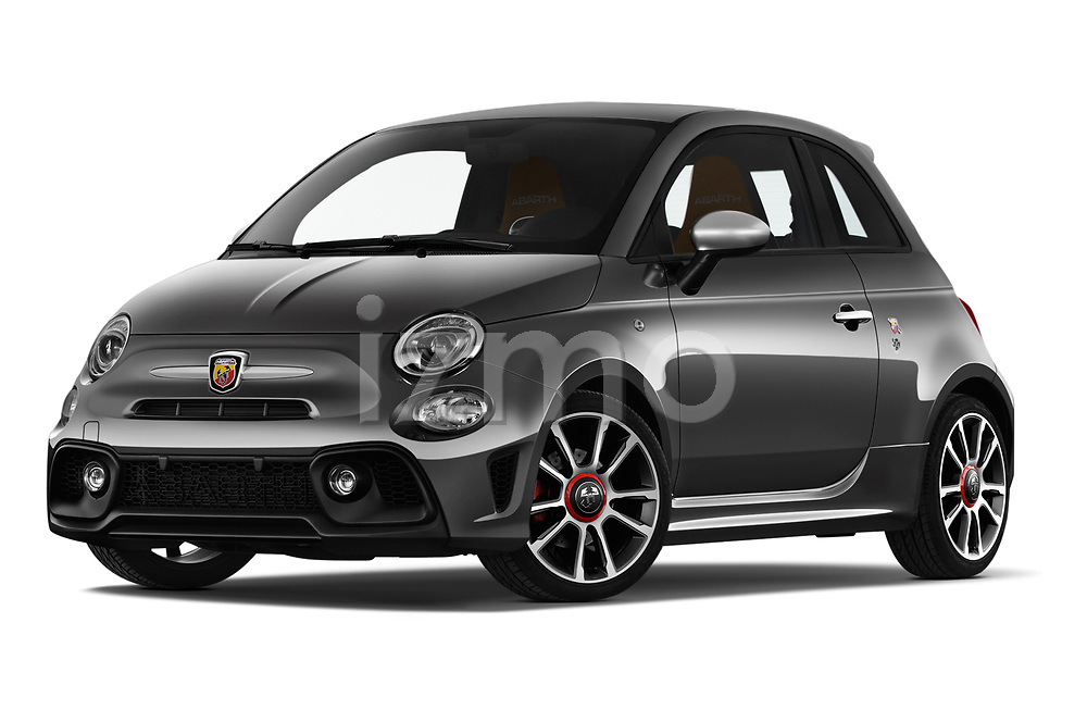 Stock pictures of low aggressive front three quarter view of a 2018 Abarth 595 Turismo 3 Door Hatchback