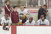 The penalty box attendants were kept busy - Tim Filangieri, Bert Lenz, Tim McFeely, Joe Pearce, Joe Rooney, Brian Boyle - The Boston College Eagles defeated Northeastern University Huskies 5-3 on Saturday, November 19, 2005, at Kelley Rink in Conte Forum at Chestnut Hill, MA.