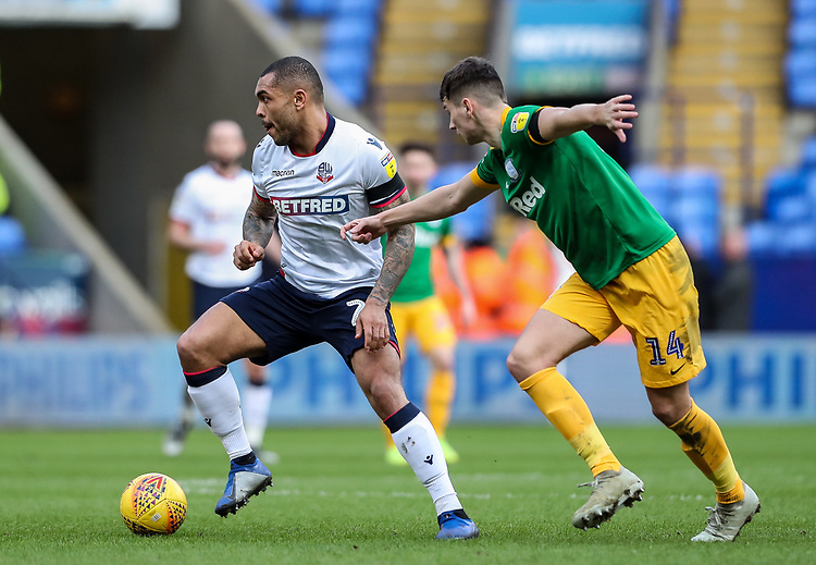 Bolton Wanderers' Josh Magennis competing with Preston North End's Jordan Storey  <br /> <br /> Photographer Andrew Kearns/CameraSport<br /> <br /> The EFL Sky Bet Championship - Bolton Wanderers v Preston North End - Saturday 9th February 2019 - University of Bolton Stadium - Bolton<br /> <br /> World Copyright &copy; 2019 CameraSport. All rights reserved. 43 Linden Ave. Countesthorpe. Leicester. England. LE8 5PG - Tel: +44 (0) 116 277 4147 - admin@camerasport.com - www.camerasport.com