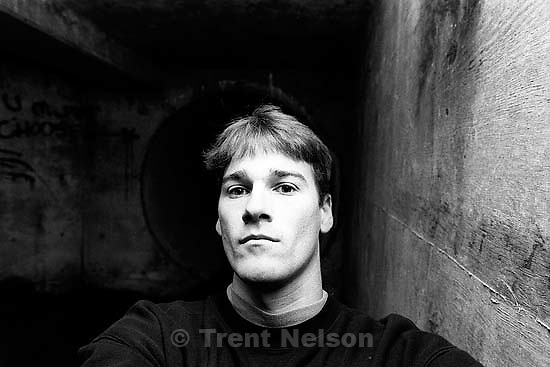 Trent Nelson in sewer pipe.<br />