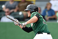 Clinton LumberKings designated hitter Justin Seager (17) squares to bunt during a game against the Beloit Snappers on August 17, 2014 at Ashford University Field in Clinton, Iowa.  Clinton defeated Beloit 4-3.  (Mike Janes/Four Seam Images)
