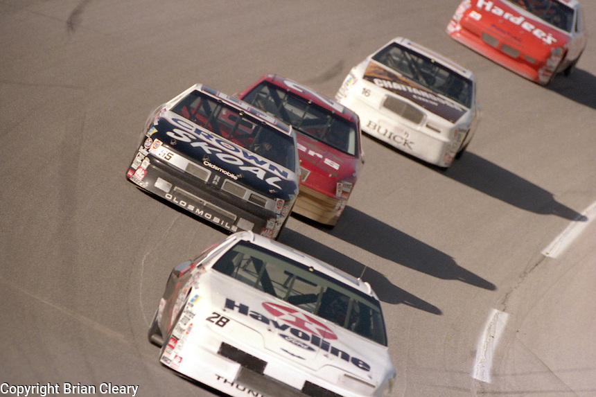 Davey Allison 28 leads pack draft action Winston 500 at Talladega Superspeedway in Talladega , AL in May 1989.  (Photo by Brian Cleary/www.bcpix.com)