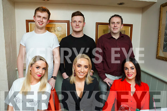 Leonie Flaherty enjoying her birthday celebrations in Cassidys on Saturday night, seated l-r, Laura Flaherty, Leonie Flaherty and Clare McEnvoy. Back l-r, Aaron O'Shea, Jamie Moriarty and John Fitzgerald.