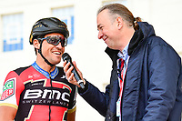 Picture by SWpix.com - 04/05/2018 - Cycling - 2018 Tour de Yorkshire - Stage 2: Barnsley to Ilkley - Yorkshire, England - BMC's Greg Van Avermaet is interviewed at sign on.