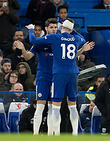 Alvaro Morata of Chelsea replaces Olivier Giroud of Chelsea during the Premier League match between Chelsea and West Bromwich Albion at Stamford Bridge, London, England on 12 February 2018. Photo by Andy Rowland.