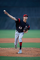 Richmond Flying Squirrels pitcher Sean Hjelle (43) during an Eastern League game against the Bowie Baysox on August 15, 2019 at Prince George's Stadium in Bowie, Maryland.  Bowie defeated Richmond 4-3.  (Mike Janes/Four Seam Images)