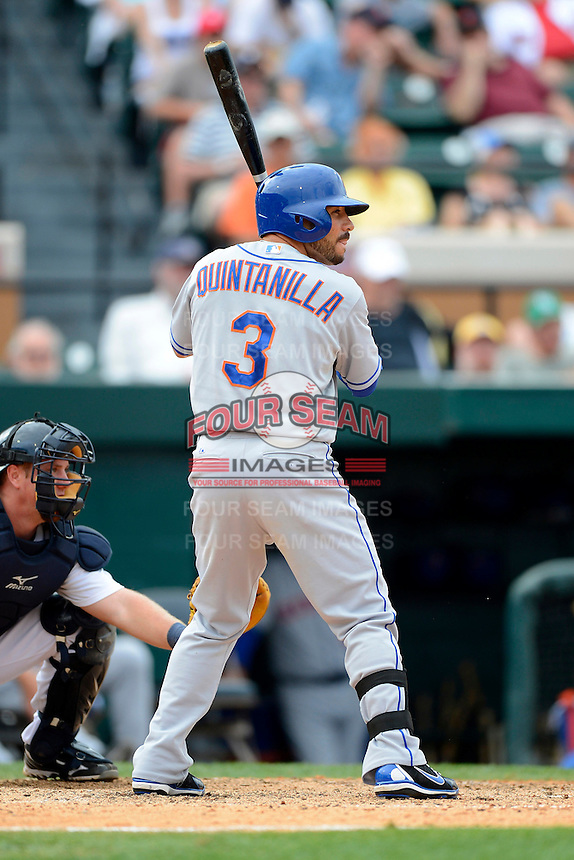 New York Mets infielder Omar Quintanilla #3 during a Spring Training game against the Detroit Tigers at Joker Marchant Stadium on March 11, 2013 in Lakeland, Florida.  New York defeated Detroit 11-0.  (Mike Janes/Four Seam Images)