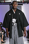 Model walks the runway in an outfit by kimono fashion stylist/ designer Hiromi Asai; for the Mode & Classic New York Spring Summer 2012 collection fashion show, during BK Fashion Weekend Spring Summer 2012.