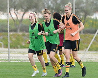 20180306 - LARNACA , CYPRUS :  Belgian Celien Guns , Yana Daniels and Justine Vanhaevermaet pictured during a Matchday -1 training from The Belgian Red Flames prior to their game against South Africa , on tuesday 6 March 2018 at the Alpha Sports Grounds in Larnaca , Cyprus . This will be the final game for Belgium during the Cyprus Womens Cup for a battle for the 5th place , a prestigious women soccer tournament as a preparation on the World Cup 2019 qualification duels. PHOTO SPORTPIX.BE | DAVID CATRY