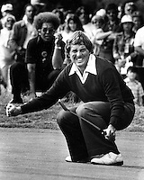 Lanny Watkins just misses putt. at Pebble Beach.<br />
