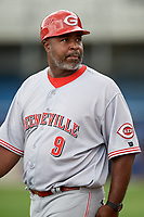 Greeneville Reds manager Gookie Dawkins (9) during the second game of a doubleheader against the Princeton Rays on July 25, 2018 at Hunnicutt Field in Princeton, West Virginia.  Greeneville defeated Princeton 8-7.  (Mike Janes/Four Seam Images)