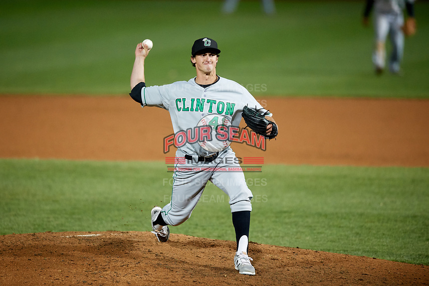 Clinton LumberKings relief pitcher Michael Koval (41) delivers a pitch during a game against the South Bend Cubs on May 6, 2017 at Four Winds Field in South Bend, Indiana.  South Bend defeated Clinton 7-6 in nineteen innings.  (Mike Janes/Four Seam Images)