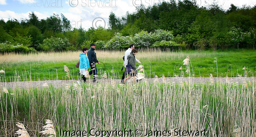 :: INTERCULTURAL PATCHWORK ::<br /> PARTICIPANTS FROM SEVERAL COUNTRIES TAKE A WALK THROUGH ABBOTSHAUGH WOODLAND FROM LOCK 2 ON THE FORTH AND CLYDE CANAL TO THE DAWSON CENTRE.