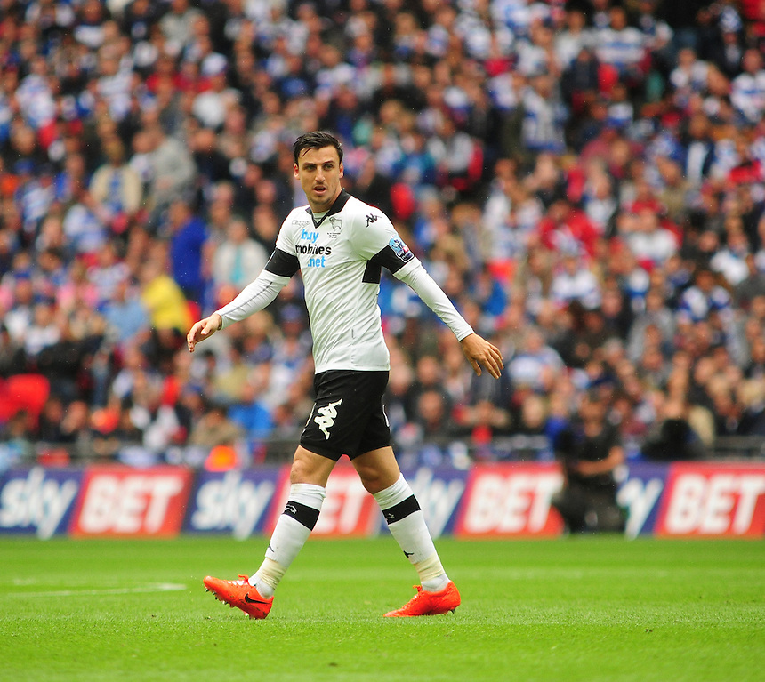 Derby County's George Thorne<br /> <br /> Photographer Chris Vaughan/CameraSport<br /> <br /> Football - The Football League Sky Bet Championship Play-Off Final - Derby County v Queens Park Rangers - Saturday 24th May 2014 - Wembley Stadium - London<br /> <br /> &copy; CameraSport - 43 Linden Ave. Countesthorpe. Leicester. England. LE8 5PG - Tel: +44 (0) 116 277 4147 - admin@camerasport.com - www.camerasport.com