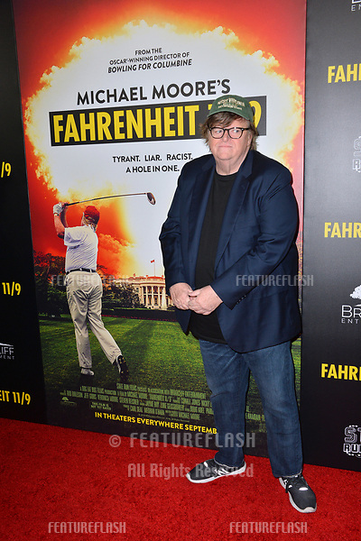 "LOS ANGELES, CA. September 19, 2018: Michael Moore at the Los Angeles premiere for Michael Moore's ""Fahrenheit 11/9"" at the Samuel Goldwyn Theatre.<br /> Picture: Paul Smith/Featureflash"