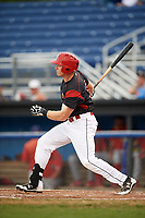 Batavia Muckdogs designated hitter Ben Fisher (36) hits a single during a game against the Williamsport Crosscutters on August 3, 2017 at Dwyer Stadium in Batavia, New York.  Williamsport defeated Batavia 2-1.  (Mike Janes/Four Seam Images)
