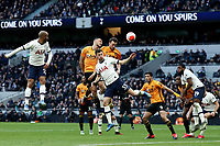 1st March 2020; Tottenham Hotspur Stadium, London, England; English Premier League Football, Tottenham Hotspur versus Wolverhampton Wanderers; Romain Saiss of Wolverhampton Wanderers with a header on goal