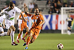 30 October 2010: Carolina's Daniel Paladini (11) is fouled by Puerto Rico's Marco Velez (left). The Puerto Rico Islanders won the 2010 USSF-D2 championship 3-1 on aggregate goals after playing the Carolina RailHawks to a 1-1 tie in the second leg of the Finals in a game played at WakeMed Stadium in Cary, North Carolina.