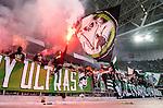 ***BETALBILD***  <br /> Stockholm 2015-09-27 Fotboll Allsvenskan Hammarby IF - AIK :  <br /> Hammarbys supportrar med bengaler och flaggor under matchen mellan Hammarby IF och AIK <br /> (Foto: Kenta J&ouml;nsson) Nyckelord:  Fotboll Allsvenskan Tele2 Arena Hammarby HIF Bajen AIK Derby supporter fans publik supporters Ultras Bengal Bengaler