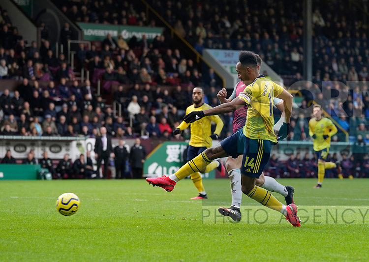 Pierre-Emerick Aubameyang of Arsenal shoots wide during the Premier League match at Turf Moor, Burnley. Picture date: 2nd February 2020. Picture credit should read: Andrew Yates/Sportimage