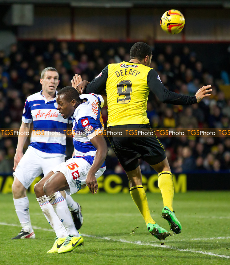 Troy Deeney of Watford nods the ball back under pressure - Watford vs Queens Park Rangers - Sky Bet Championship Football at Vicarage Road Stadium, Watford, Hertfordshire - 29/12/13 - MANDATORY CREDIT: Ray Lawrence/TGSPHOTO - Self billing applies where appropriate - 0845 094 6026 - contact@tgsphoto.co.uk - NO UNPAID USE