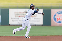 AFL West shortstop Lucius Fox (5), of the Peoria Javelinas and Tampa Bay Rays organization, throws to first base during the Arizona Fall League Fall Stars game at Surprise Stadium on November 3, 2018 in Surprise, Arizona. The AFL West defeated the AFL East 7-6 . (Zachary Lucy/Four Seam Images)
