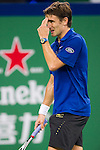 SHANGHAI, CHINA - OCTOBER 12:  Tommy Robredo of Spain reacts after loosing a point against Tomas Berdych of Czech Republic during day two of the 2010 Shanghai Rolex Masters at the Shanghai Qi Zhong Tennis Center on October 12, 2010 in Shanghai, China.  (Photo by Victor Fraile/The Power of Sport Images) *** Local Caption *** Tommy Robredo