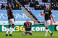 Bolton Wanderers' Sammy Ameobi, Callum Connolly and Will Buckley rue a near miss<br /> <br /> Photographer Andrew Kearns/CameraSport<br /> <br /> The EFL Sky Bet Championship - Wigan Athletic v Bolton Wanderers - Saturday 16th March 2019 - DW Stadium - Wigan<br /> <br /> World Copyright &copy; 2019 CameraSport. All rights reserved. 43 Linden Ave. Countesthorpe. Leicester. England. LE8 5PG - Tel: +44 (0) 116 277 4147 - admin@camerasport.com - www.camerasport.com