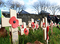 Pictured: Wooden crosses with poppies in Tenby Friday 11 November 2016<br /> Re: Remembrance Day service in Tenby, Pembrokeshire, Wales, UK.