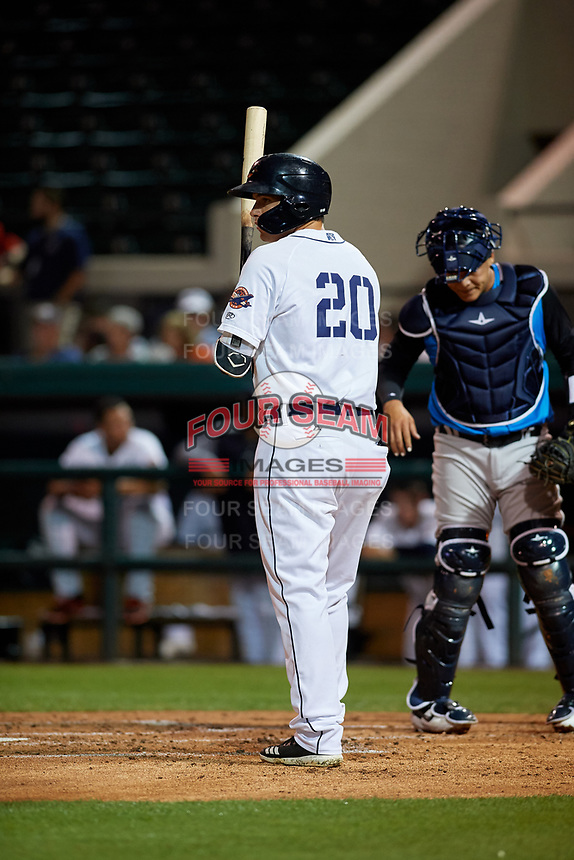 Lakeland Flying Tigers designated hitter Daniel Reyes (20) at bat during a Florida State League game against the Tampa Tarpons on April 5, 2019 at Publix Field at Joker Marchant Stadium in Lakeland, Florida.  Lakeland defeated Tampa 5-3.  (Mike Janes/Four Seam Images)