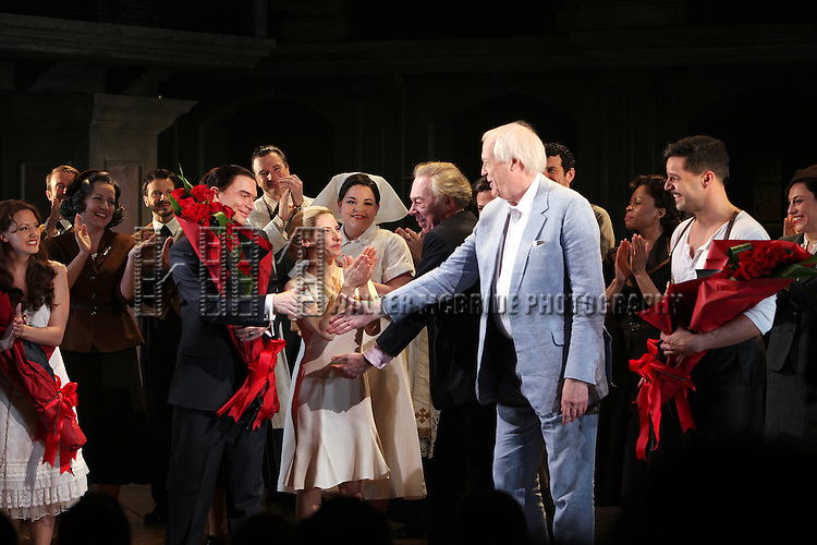 Rachel Potter, Michael Cerveris, Elena Roger, Andrew Lloyd Webber, Tim Rice, Ricky Martin & Max Von Essen with the Company.during the Broadway Opening Night Performance Curtain Call for 'EVITA' at the Marquis Theatre in New York City on 4/5/2012