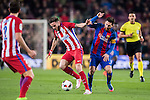 Saul Niguez Esclapez (l) of Atletico de Madrid vies for the ball with Lionel Andres Messi of FC Barcelona during their Copa del Rey 2016-17 Semi-final match between FC Barcelona and Atletico de Madrid at the Camp Nou on 07 February 2017 in Barcelona, Spain. Photo by Diego Gonzalez Souto / Power Sport Images
