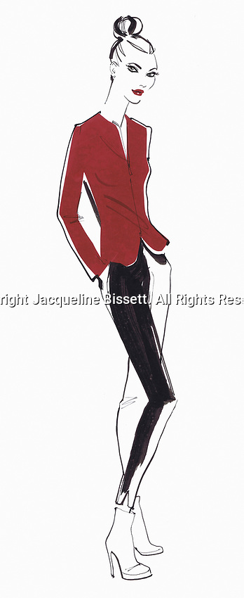 Fashion illustration of woman in trousers and top