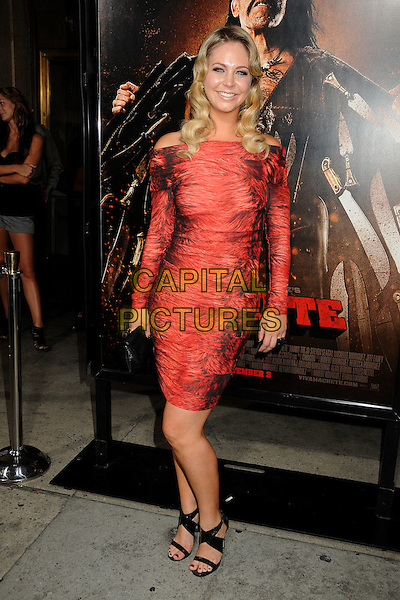 "DANA ROSENDORFF.""Machete"" Los Angeles Premiere held at the Orpheum Theatre, Los Angeles, California, USA..August 25th, 2010.full length dress off the shoulder red.CAP/ADM/BP.©Byron Purvis/AdMedia/Capital Pictures."