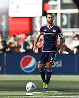 New England Revolution defender A.J. Soares (5) looks to pass..  In a Major League Soccer (MLS) match, FC Dallas (red) defeated the New England Revolution (blue), 1-0, at Gillette Stadium on March 30, 2013.