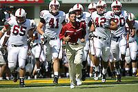 2 September 2006: Gustav Rydstedt (65), Tom McAndrew (41), head coach Walt Harris, Ismail Simpson (79), Will Powers (42), Clinton Snyder (20) during Stanford's 48-10 loss to the Oregon Ducks at Autzen Stadium in Eugene, OR.