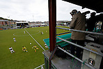 Aberystwyth Town 1 Newtown 2, 17/05/2015. Park Avenue, Europa League Play Off final. View from the TV Gantry as Newtown attack. Aberystwyth finished 14 points above Newtown in the Welsh Premier League, but were beaten 1-2 in the Play Off Final. Photo by Paul Thompson.
