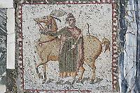Detail of a mosaic depicting a horse and rider in the Villa of the Aviary, Carthage, Tunisia, pictured on January 27, 2008, in the afternoon. Carthage was founded in 814 BC by the Phoenicians who fought three Punic Wars against the Romans over this immensely important Mediterranean harbour. The Romans finally conquered the city in 146 BC. Subsequently it was conquered by the Vandals and the Byzantine Empire. Today it is a UNESCO World Heritage. The Roman Villa of the Aviary, with its octagonal garden set in a peristyle courtyard, is known for its fine mosaics depicting birds. Picture by Manuel Cohen.