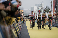 Team UAE on their way to the pre race team presentation. <br /> <br /> 103rd Ronde van Vlaanderen 2019<br /> One day race from Antwerp to Oudenaarde (BEL/270km)<br /> <br /> ©kramon