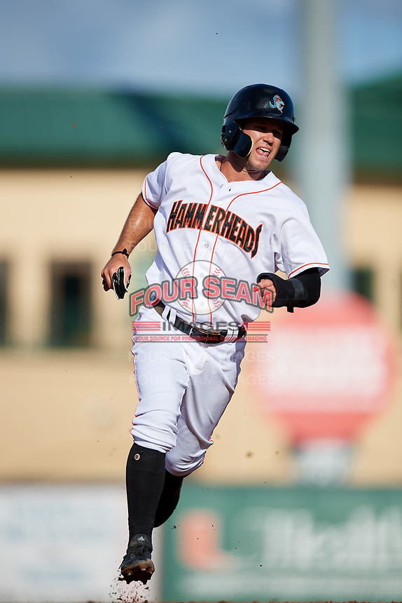 Jupiter Hammerheads center fielder Aaron Knapp (7) runs the bases during a game against the Palm Beach Cardinals on August 4, 2018 at Roger Dean Chevrolet Stadium in Jupiter, Florida.  Palm Beach defeated Jupiter 7-6.  (Mike Janes/Four Seam Images)