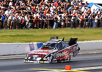 May 31, 2014; Englishtown, NJ, USA; NHRA funny car driver Courtney Force during qualifying for the Summernationals at Raceway Park. Mandatory Credit: Mark J. Rebilas-