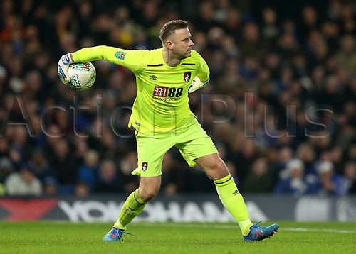 20th December 2017, Stamford Bridge, London, England; Carabao Cup quarter final, Chelsea versus Bournemouth; Goalkeeper Artur Boruc of Bournemouth puts the ball back into play