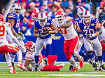 9 November 2014: Buffalo Bills running back Bryce Brown rushes to his 38 yardline for a 14-yard gain in the third quarter against the Kansas City Chiefs at Ralph Wilson Stadium in Orchard Park, NY. The Chiefs rallied with two fourth quarter touchdowns to defeat the Bills 17-13. Mandatory Credit: Ed Wolfstein Photo *** RAW (NEF) Image File Available ***