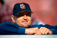 Trevor Hoffman of the San Diego Padres during a game at Anaheim Stadium in Anaheim, California during the 1997 season.(Larry Goren/Four Seam Images)
